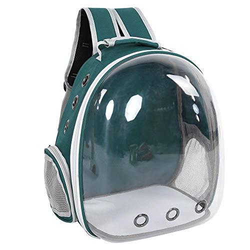 Pssopp Mochila portadora de Mascotas - Cápsula Espacial Cat Mochila Transparente portátil Gato Exterior Mochila Transpirable Jaula para Mascotas Bolsa de Transporte para Gatos Cachorros (Verde)