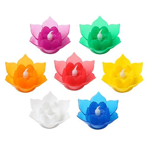 7Farbe Batterien betrieben Lotus LED Kerze Schwimmende Kerze Flammenlose Kerze Lampe Festival Lampe und Dekoration für Haus, Garten, Teich (7Stück) (Schwimmende Lotus Kerzen)