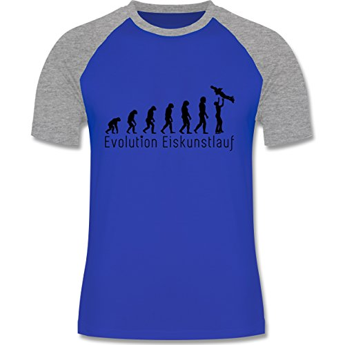 Evolution - Eiskunstlauf Evolution - zweifarbiges Baseballshirt für Männer  Royalblau/Grau meliert