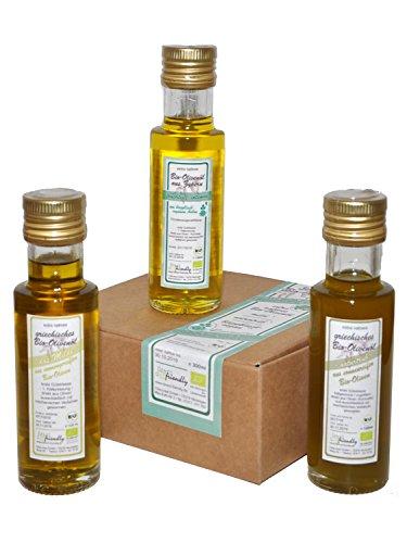 direct&friendly Bio Geschenkset und Probierset 3 Flaschen Bio Olivenöl Griechenland und Zypern
