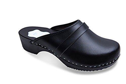 Futuro Fashion® - Zuecos de Cuero auténtico con Suela de Madera - para Mujer - Colores Lisos Unisex - Blanco/Negro - Tallas 36-46 - Negro - 39 EU
