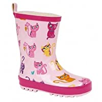 Lora Dora Kids Girls Wellies Wellys Wellington Rain Snow Boots Warm Winter Shoes