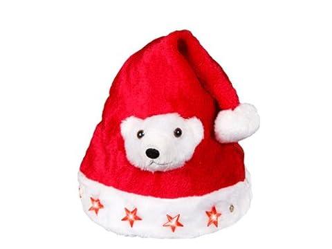 Bonnet de Noël pour enfant (wm-44) lumineux avec péluche tête d'ours nounours blanc et 5 étoiles à LED clignotante lux très classe bouton on/off, en feutrine tissu de péluche velour très doux rouge et bordure moumoutte pompons fourrure l'accessoire festif idéal pour les fêtes de fin d'année pour se déguiser ou marquer l'événement pour noel cadeau sympa pour mettre l'ambiance