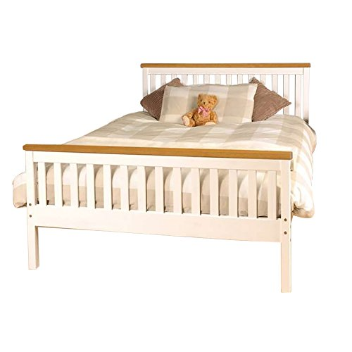 Comfy Living 4ft6 Double Atlantis Style Wooden Pine Bed Frame in White with Caramel Bar