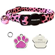 ANCOL Cat Light Pink Leopard Print Quick Release Collar With Engraved Paw Print Shaped Glitter Cat ID Tag