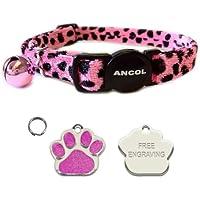 Ancol Gato luz rosa Leopardo Cuello de liberación rápida con forma de purpurina de huellas de grabado gato etiqueta de identificación.
