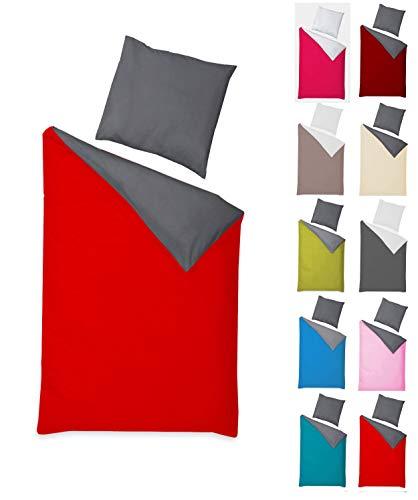 Naturawalk Renforcé Bettwäsche 100% BIO Baumwolle in 6 modernen Farbkombinationen mit Reissverschluss, 2 od. 4 TLG. Garnitur - Grösse 4 tlg. 135x200cm, 80x80 cm, Farbe Anthrazit/Rot - Bettbezug Rot