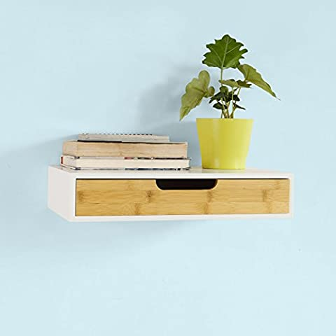 SoBuy® Estante de pared con cajón, Estante estantería para la Sala, estilo moderno, FRG92-WN, ES