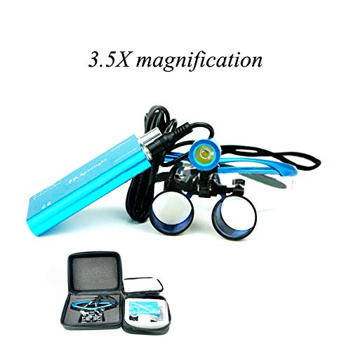 Nicekko Dental 3.5X LED Binokularlupen Brillenlupe Surgical Optisches Glas, Werden in Den Bereichen Dental, Kunststoff, Neurologie, Ophthalmologie Und Hals-Nasen-Ohren-Heilkunde Eingesetzt (Blau)