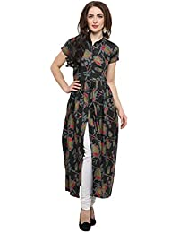 Jashvi Craetion Women's Black Rayon Cotton Straight Kurti