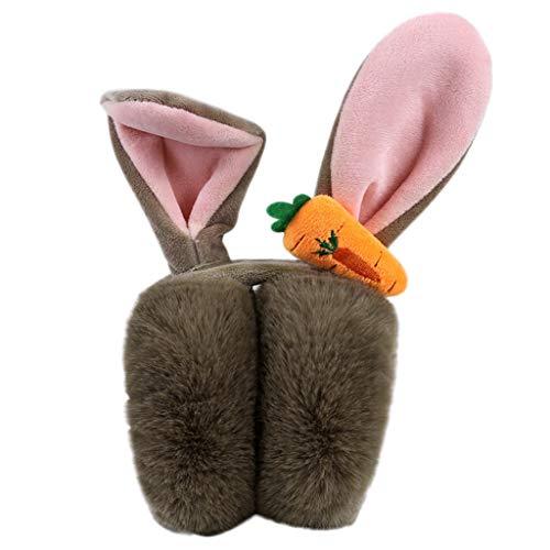 Unisex Ohrenschützer (Kinder Ohrenwärmer) | Verstellbare Ohrenschützer | innovativer Ohrenschutz hält die Ohren warm im Winter | Cartoon Kaninchen Karotten Design Ohrwärmer (Khaki)