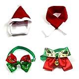 Snow Island Schneeinsel Weihnachtsset mit Halsband und Schal für Kleine Haustiere, Kätzchen, Hund, Nikolaus, Mütze, Kragen mit Glöckchen, Weihnachtskostüm