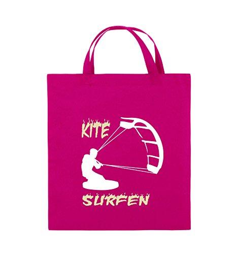 Comedy Bags - Kite Surfen - MOTIV 3 - Jutebeutel - kurze Henkel - 38x42cm - Farbe: Schwarz / Weiss-Neongrün Pink / Rosa-Weiss-Beige