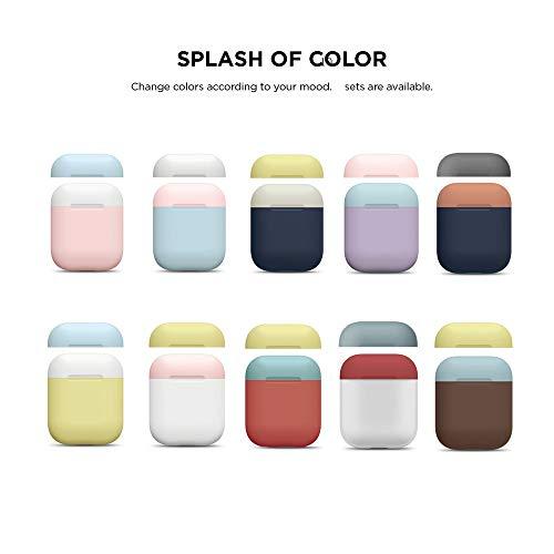 Altsommer Multi Farben Silikonhülle Kopfhörer Doppelkappe für Apple AirPods Kopfhörer Cover, Schutzhülle mit Karabiner,Kopfhörer-Box mit Kopfhörer Schutzhülle, (C) - Apple Ohrhörer Farbe Für
