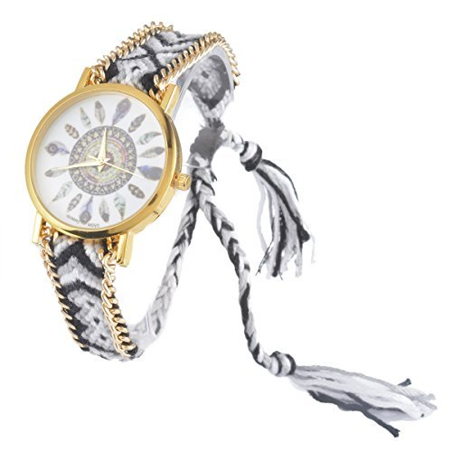 Souarts Damen Geflochten Armbunduhr Jugendliche Mädchen Armreif Uhr mit Batterie Zifferblatt Weiß und Schwarz