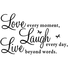 "omiky® 1pc 19,7* 27.6inches PVC letras pared refranes ""Live every moment, Laugh every day, Love beyond words"", extraíble Diy adhesivo decorativo, diseño de murales cita pared diciendo pegatinas"