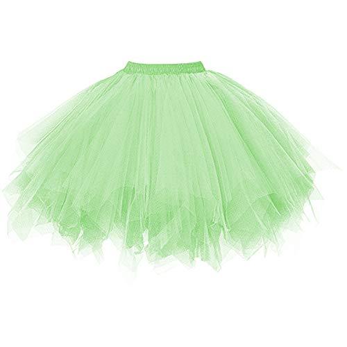 Mädchen Für Kostüm 50er Erwachsene Jahre - DresseverBrand Damen Petticoat 50er Rockabilly Jahre Retro Tutu Ballet Tüllrock Cosplay Crinoline hellgrün Large/X-Large