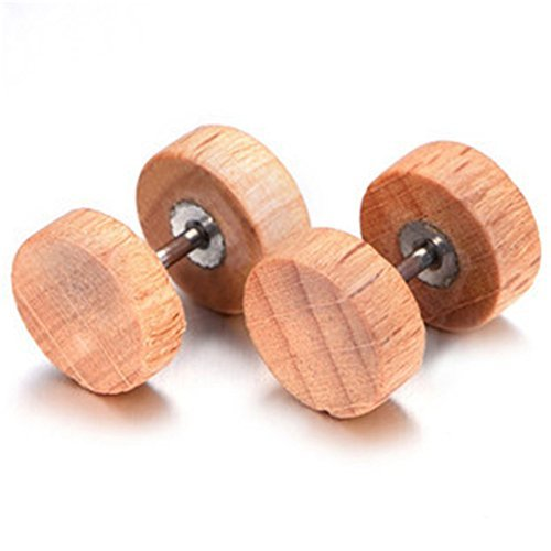 Chryssa Youree 8MM Men Earrings Studs Wooden Cheater Plugs Stainless Steel Stud Earrings for Men Boys Hypoallergenic 3 Pairs(ED-84) (8mm: 1 pair apricot)