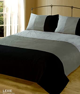 Double Bed Duvet / Quilt Cover Bedding Set Lexie Black / Grey Plain 3 Tone
