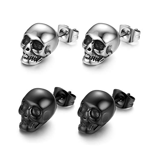 Cupimatch 2 Pares Pendientes Aretes Acero Inoxidable Punk...