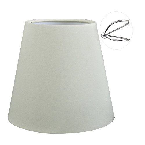 Eastlion 9 * 14 * 13cm Flachs Kerze Kronleuchter Lampenschirm Wand Lampe Pendelleuchte Schirm, Beige mit Clips