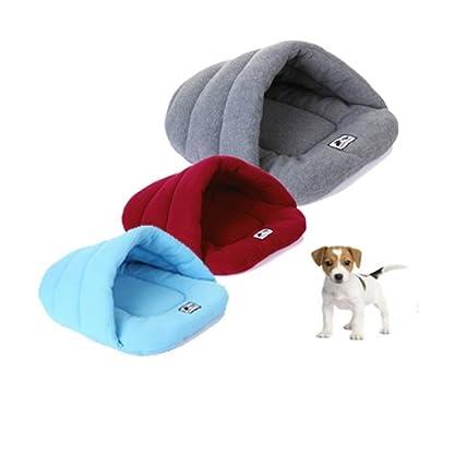 UEETEK Soft Warm Dog Cat Cave Bed House Cushion Cotton Plush Pet Sleeping Bag Grey 3