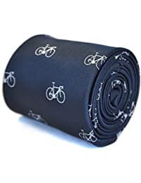 Frederick Thomas navy blue tie with bicycle design