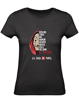 T-Shirt Donna Cotone Basic Super Vestibilità Top Qualità - LA CASA di Carta Modello 1 - Divertente Humor Made...