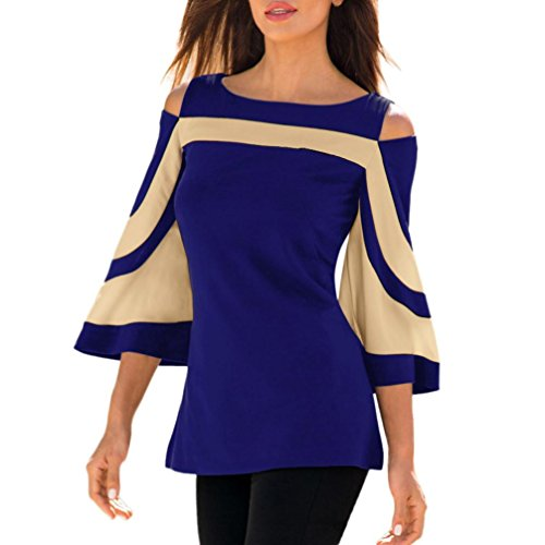 VENMO Frau Kaltes Schulter-Sweatshirt mit langen Ärmeln Pullover Tops Schulterfrei Bluse Shirt Damen Cold Shoulder Locker Träger Top Oberteil Off Shoulder Bluse Sommer Langarm Shirt (Blue, XL) (Spitzen-neckholder Kleid Lang)