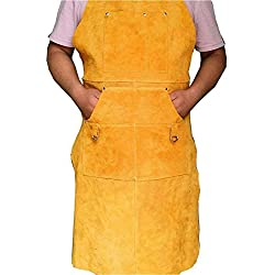 Delantal de trabajo de seguridad de piel resistente a las llamas, para soldar, herramienta de taller, delantales de cuero para soldar, multiusos, para trabajo y soldadura, amarillo