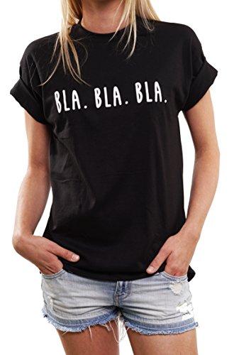 Lustige Geschenke für Frauen - BLA BLA BLA - Oversize Shirt Damen schwarz große Größen M (Coole Sprüche T-shirt)