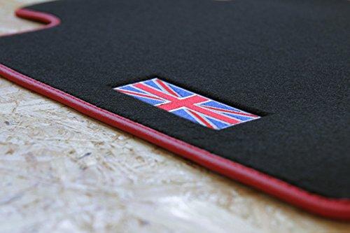 Auto-mini-jack (teileplus24 510 Fußmatten Gummimatten Union Jack Logo Bandeinfassung Ziernähte)