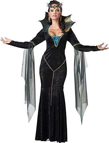 Kostüm Schwarz Hexe Blau Und - KULTFAKTOR GmbH Dunkle Magierin Hexe Zauberin Halloween Damenkostüm schwarz-blau XL (44/46)