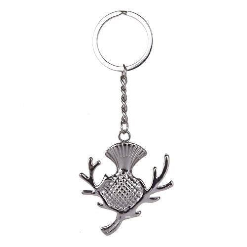 FANCYTHAT & SCIFI PLANET Scottish Highland Thistle Silver Keyring Highland Thistle