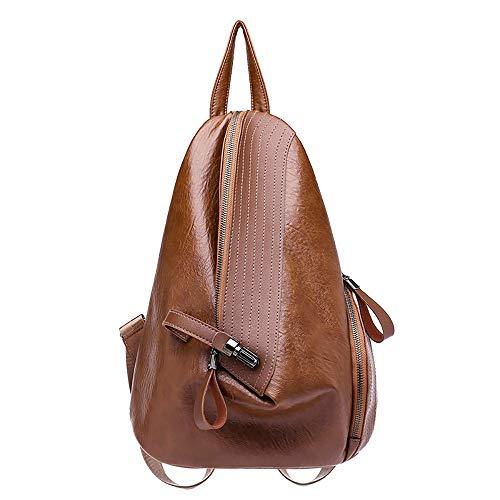 YWLINK Damen Rucksack Mode Daypacks PersöNlichkeit ReißVerschluss Dreieck-Paket Weiches PU Kleiner Rucksack Schulrucksack