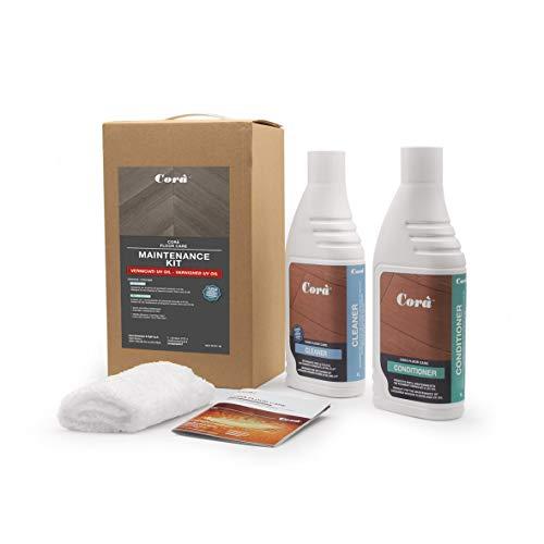 Detergente e cera parquet professionale - pulizia e manutenzione pavimento in legno verniciato/oliato uv oil - kit maintenance - varnished uv oil - 1 lt. cleaner, 1 lt. conditioner