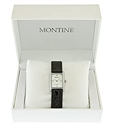 Montine Mens Gents Black Strap White Dial Silver Wrist Watch DN001S4GIPS