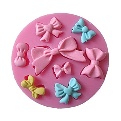 Allforhome 8 cavity Mini Bows Silicone Mould Fondant Sugar Bow Craft Molds DIY Cake Decorating