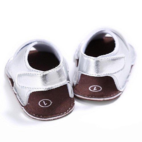 Chaussures de bébé,Transer ® Bébé 0-18 mois fille garçon cuir Crib chaussures sandales doux semelle anti-dérapante Sneakers Argent