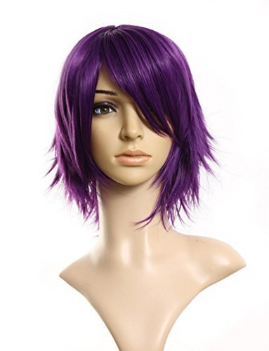Rise World Wig Damen 40cm Kurze Layered Filp Out Hitzewider Theater Cosplay lila Perücke