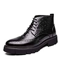 JIANFEI LIANG Men's Formal Brogue Carving Ankle Boots Dress Boots Lace up PU Leather Round Toe Burnished Style Solid Color Platform Anti-skid Casual (Color : Black, Size : 43 EU)