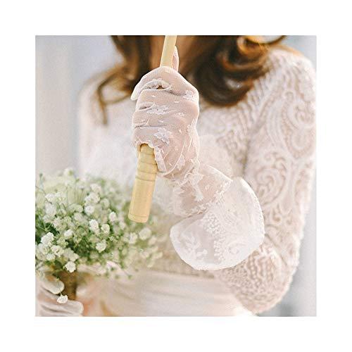 Damen-Spitzenhandschuhe Elegante Kurzhandschuhe für Hochzeitsessen Arbeitshandschuhe (Color : White) (Passt Kirche Damen)