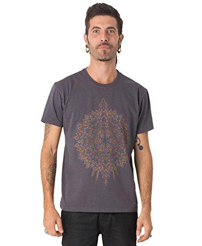 Street Habit Herren T-Shirt mit Mexica Mandala Psychadelischem Aufdruck - Handgefertigt durch Siebdruck auf 100% Baumwolle Grau