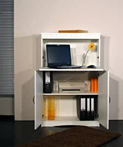m beldesign team 2000 4132 1 secr taire ou meuble informatique style rustique blanc. Black Bedroom Furniture Sets. Home Design Ideas
