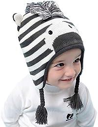 Tyidalin Sombreros Niño Infantil Bebé Invierno Orejeras Earflap Casquillos  Punto Ganchillo Animales Beanie Gorra Caliente 6b411171edc