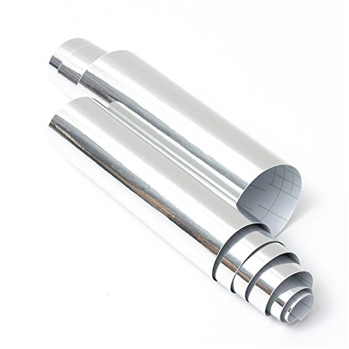 Alamor 20X152cm Plata Cromo Espejo Vinilo Abrigo Película Etiqueta Engomada Del Coche Hoja De Calcomanía Burbuja Gratis