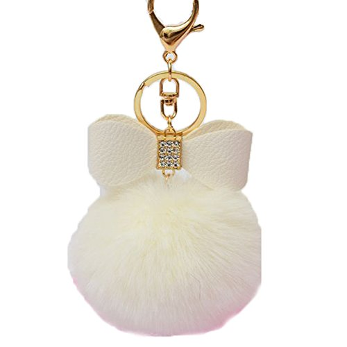 chicmall-rabbit-fur-keychain-bag-charm-fluffy-puff-ball-bow-key-ring-car-pendant-white