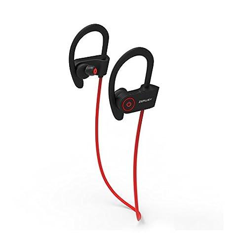Zerwey sans fil Sport Casque Bluetooth HD Beats Tenue stable Qualité de son à la transpiration séance d'entraînement Écouteurs intra-auriculaires ergonomiques Course Écouteurs antibruit Micro