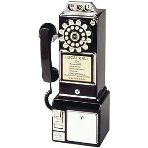 CROSLEY RADIO CR56-BK 1950s Classic Pay Phone (Black)