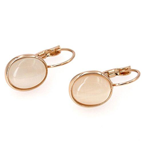 Yoursfs Vintage Damen Ohrclips Rote Oval Opal Klipp Ohrringe mit 18K Rosegold Vergoldeteund Groß Perle für Damen Frauen Mädchen - 3